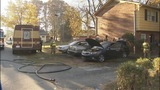 People evacuated after car fire started near building - (3/6)