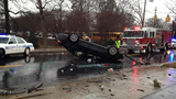 IMAGES: Car flips near uptown - (1/9)