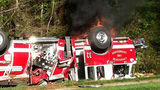 IMAGES: Fire engine overturns in south Charlotte - (8/18)