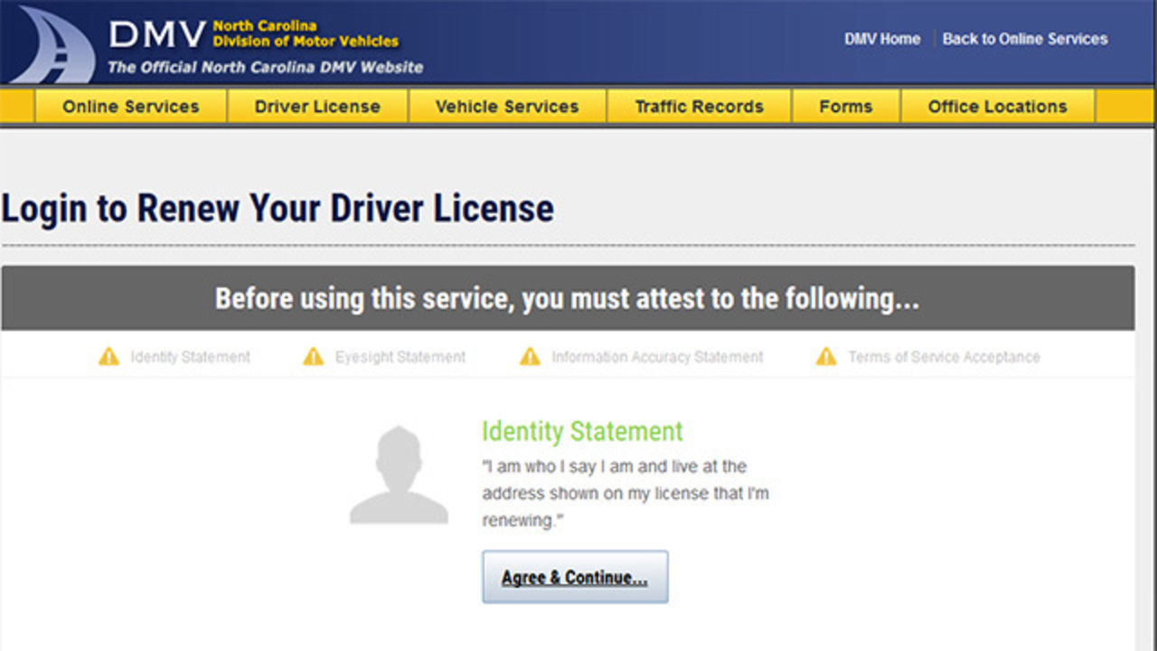Nc department of motor vehicles license renewal vehicle for Department of motor vehicles registration online
