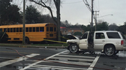A school bus has collided with an SUV on The Plaza in east Charlotte Thursday morning.
