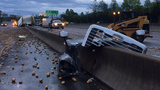 Tractor-trailer crash spills 50K pounds of potatoes across I-77