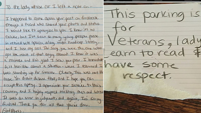 veteran receives apology after rude letter left on car httponwsoctvcom28lppcy