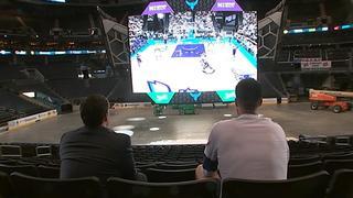 Frank Kaminsky challenges Channel 9 to game of NBA2K on Hornets huge scoreboard