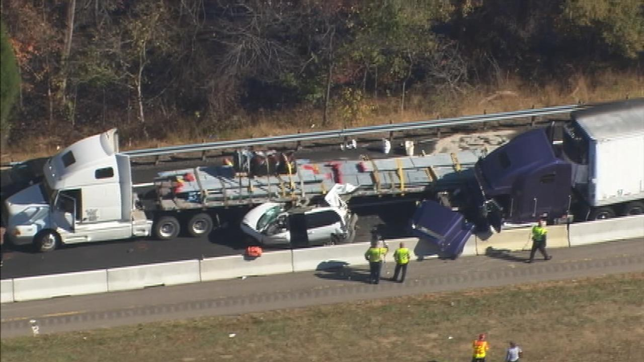 PHOTOS: Crash involving two tractor-trailers, multiple cars closes ...