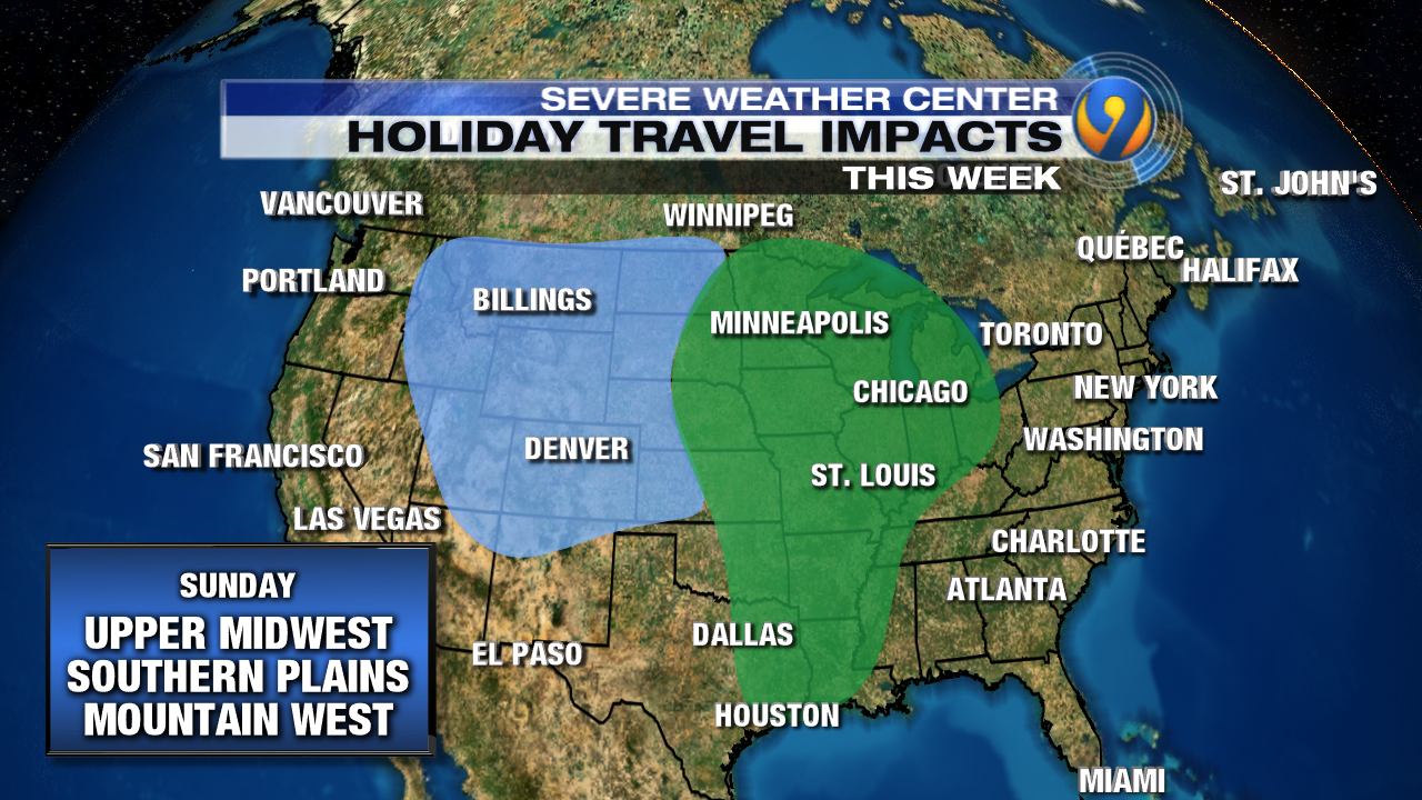 HOLIDAY TRAVEL Daily Forecast And Impacts Across The Country - Us air travel weather map
