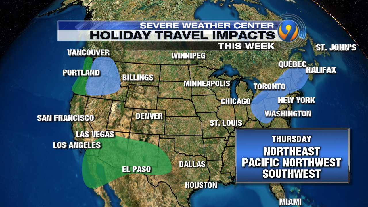 holiday travel daily forecast and impacts across the country  - friday is expected to be one of the busiest travel days and luckily weathershouldn't impact too many major cities rain will once again be possiblefor