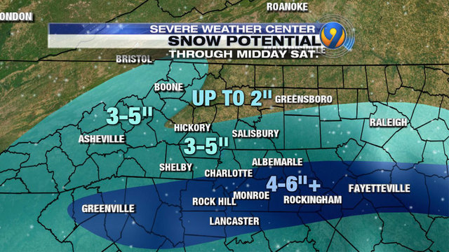 Charlotte Snow Snow Potential 3 6 Inches Winter Storm Warning To
