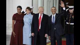 IMAGES: President Obama, First Lady Michelle Obama greet Trumps at White House