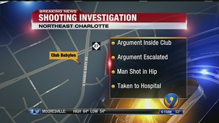 One shot outside of club in east Charlotte, police say