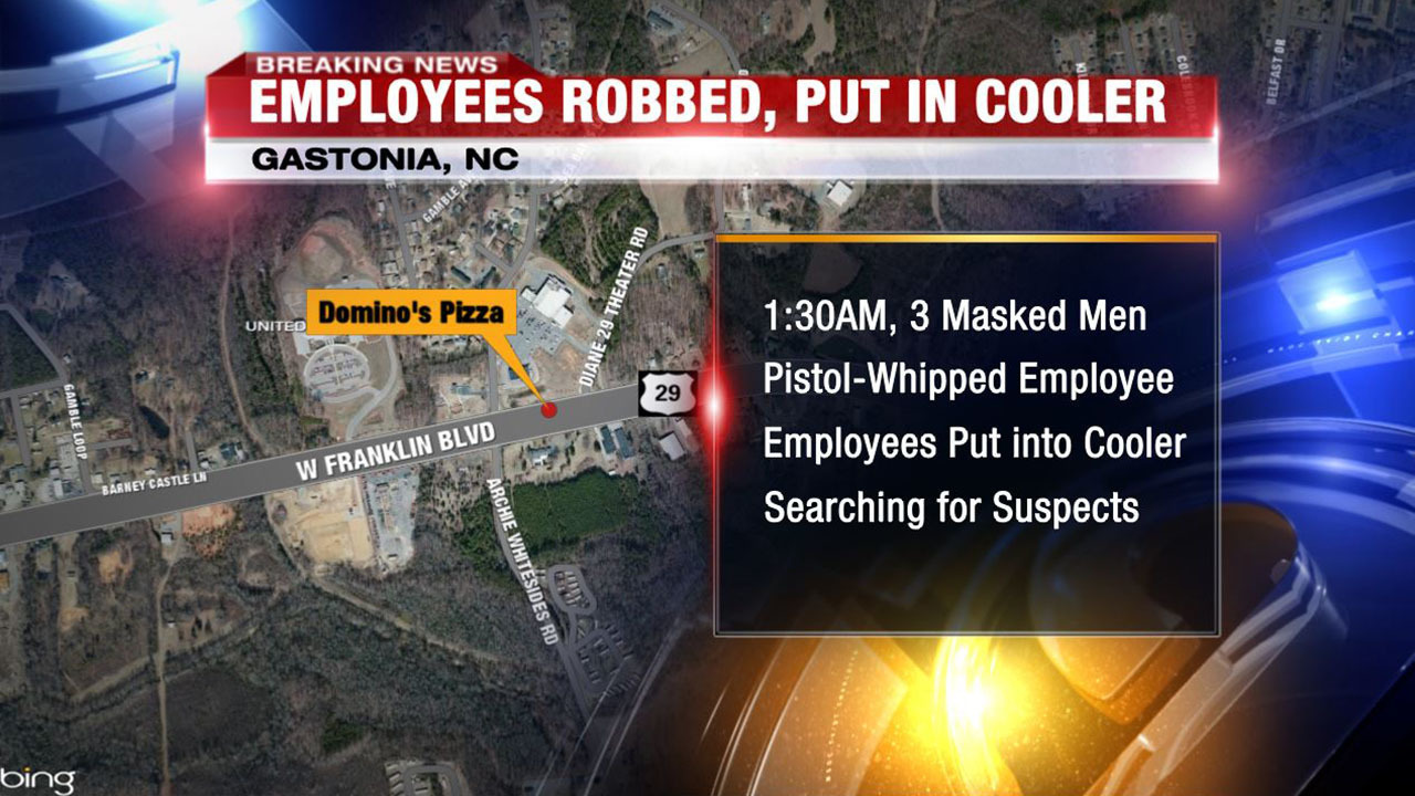 masked robbers force gastonia domino s employees into cooler wsoc tv officers told channel 9 that around 1 30 a m three men wearing masks entered the domino s on west franklin boulevard