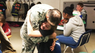 Rock Hill airman shows up at school to surprise son and daughter