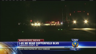Overturned big rig shuts down portion of I-85 near Kannapolis
