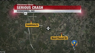 Three-car crash shuts down roads in Concord