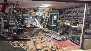 Store owner says masked burglars intentionally crashed into pawn shop