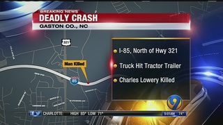 Gastonia man killed after rear-ending tractor-trailer on I-85
