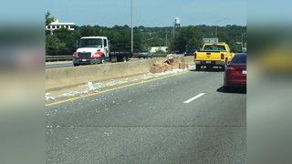 Box truck crash spills popcorn on I-277 near uptown Charlotte