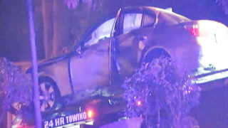 Driver fleeing officers crashes, shears utility pole in half, police say