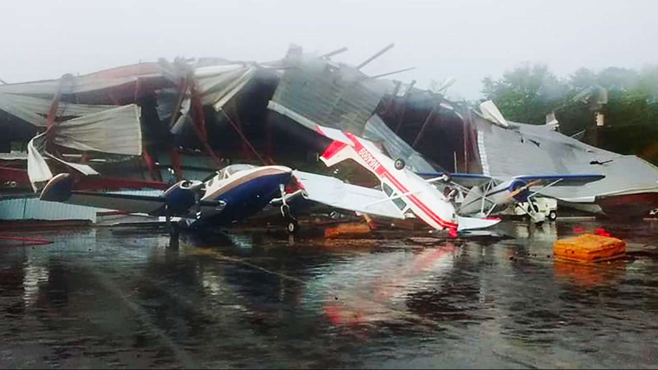 tornado destroys hanger planes at hickory airport wsoc tv