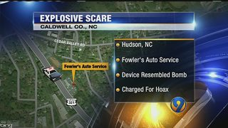 Device resembling bomb found in vehicle at car shop