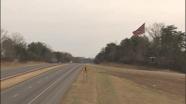 Large Confederate flag raised in highly visible area in Burke County
