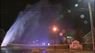 Water shoots 25 feet in air after pipe bursts in residential area