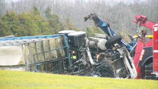 Driver killed when turkey truck crashes, catches fire in Union County