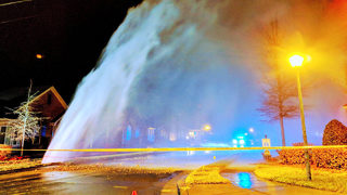 Broken water main shoots geyser 25 feet in air, flooding home