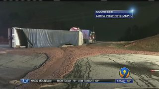 Tractor-trailer spills 77,000 pounds of chicken waste, causing mess on I-40