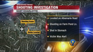 One person shot in the stomach in east Charlotte, police say