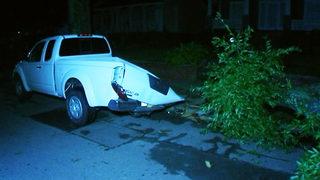 Large tree crashes onto pickup truck near uptown Charlotte