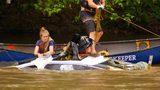 Crews work to pull stolen Jaguar from river in Asheville