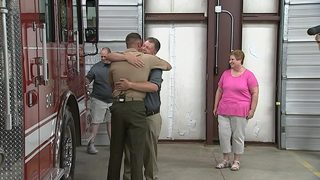 Marine son stationed overseas surprises firefighter father at celebration in Lancaster