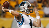 Carolina Panthers quarterback Garrett Gilbert (4) passes during the first half of a pre season NFL football game against the Pittsburgh Steelers in Pittsburgh, Thursday, Aug. 30, 2018. (AP Photo/Don Wright)