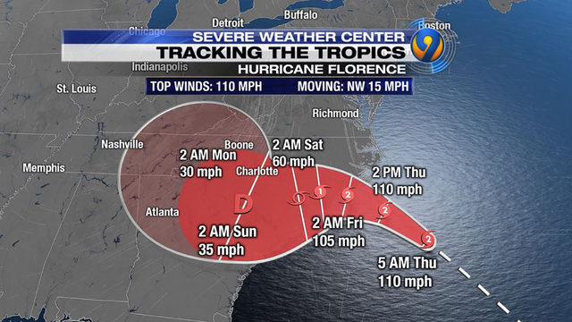 Hurricane Florence Updates Fierce Category 2 Hurricane Aims At Southeast Wsoc Tv
