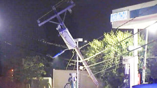 Driver hits utility pole, brings down power lines in South End