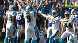 Carolina Panthers' Graham Gano (9) celebrates his game-winning field goal against the New York Giants in the second half of an NFL football game in Charlotte, N.C., Sunday, Oct. 7, 2018. (AP Photo/Jason E. Miczek)