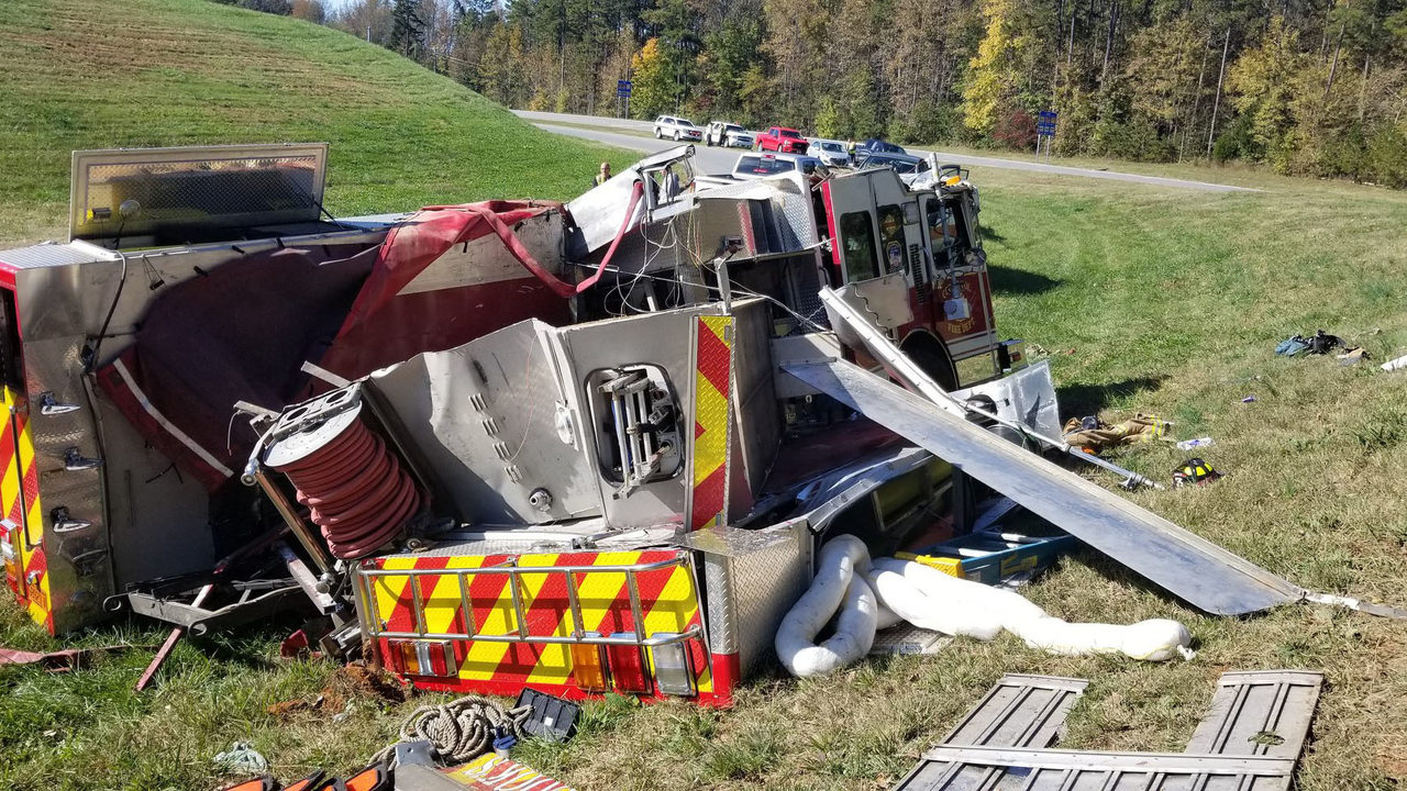 COOKS FIRE TRUCK CRASH: Fire truck rolls over in wreck on way to