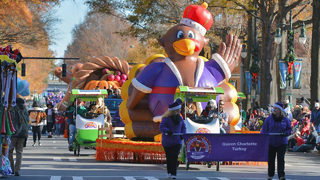 Thanksgiving Day Parade marches in the holidays