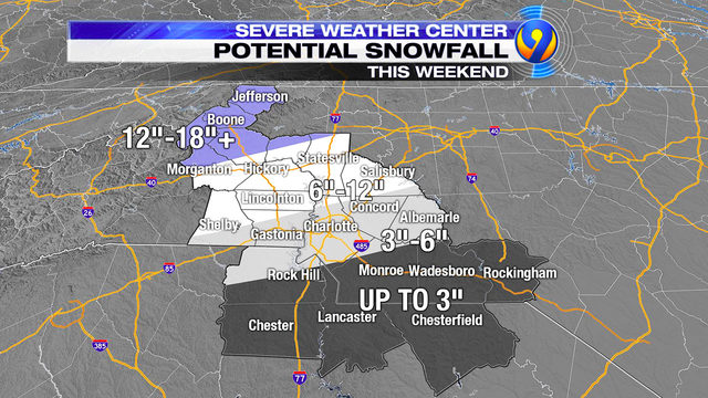 CHARLOTTE WINTER STORM LIVE UPDATES TRACKING: Snow falling