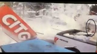 Close Call: Fireman narrowly escapes collapsed awning