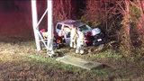 SUV damages sign on I-77; northbound lanes shut down in Huntersville