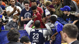 LeBron James Signs Autographs at NBA All-Star Practice 2017
