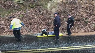 Rescuers use sled to pull driver to safety after Burke County crash in icy conditions