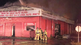Dozens of firefighters battle large blaze at Concord tire storage facility