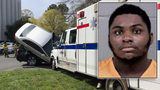 Man who crashed stolen ambulance into parked cars now behind bars