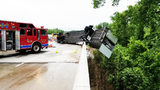 Tractor-trailer hanging over Rowan Co. bridge leaking fuel blocks portion of I-85