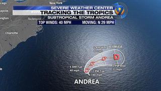 Subtropical storm Andrea weakens in Atlantic, expected to dissipate