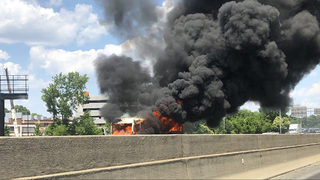 One killed, four injured after fire engulfs church bus on I-77S