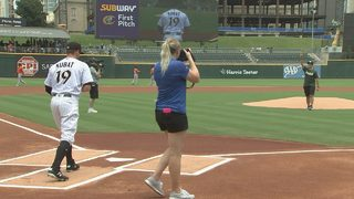 UNCC shooting survivor delivers first pitch before Charlotte Knights game